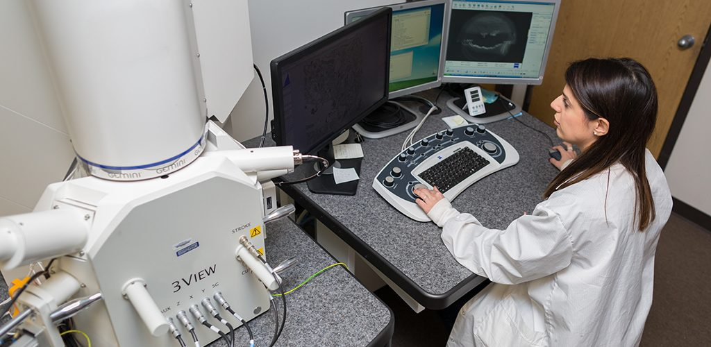 woman working at large microscope